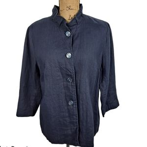 Coldwater Creek Blue Linen Jacket Size 12 and 14
